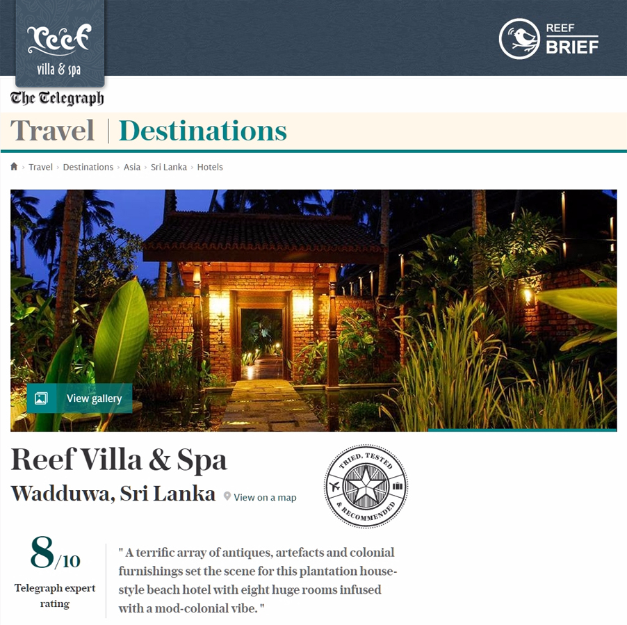 Reef Villa & Spa Features in The Telegraph - Travel Destinations .November 2016